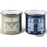VW Collection Set of 2 Enamel Mugs in Gift Box - Beige/Grey