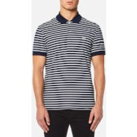 Lacoste Mens Stripe Polo Shirt - Navy Blue/Flour - L/5 - Blue
