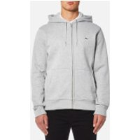 Lacoste Mens Zipped Hoody - Silver Chine/Navy Blue - M/4 - Grey