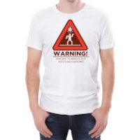 Warning Dad Dancing Men's White T-Shirt - L - White - Dancing Gifts