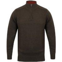 Kensington Mens Zip Down Jumper with Ribbed Detailing - Charcoal - L - Grey