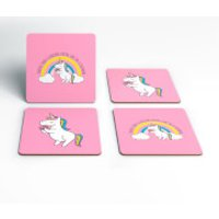 Happier Than A Unicorn Eating Cake Coasters - Eating Gifts