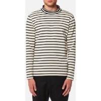 YMC Men's Chino Turtle Neck Top - Ecru/Navy - XL - Beige/Navy