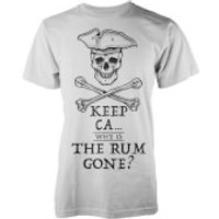 Keep Ca.. Why Is The Rum Gone? Men's White T-Shirt - L - White - Rum Gifts
