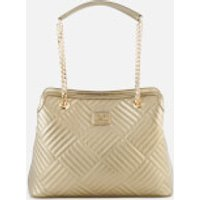 Love Moschino Womens Shiny Quilted Metallic Chain Tote Bag - Gold
