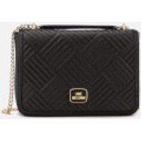 Love Moschino Womens Shiny Quilted Metallic Chain Shoulder Bag - Black