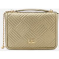 Love Moschino Womens Shiny Quilted Chain Metallic Shoulder Bag - Gold