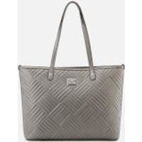 Love Moschino Womens Shiny Quilted Metallic Tote Bag - Pewter