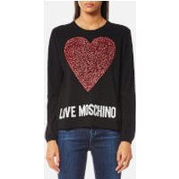 Love Moschino Women's Large Textured Heart Jumper - Black - IT 44/UK 12 - Black