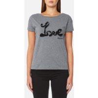 Love Moschino Womens Frill Love T-Shirt - Dark Grey - IT 44/UK 12 - Grey