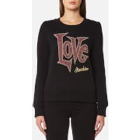 Love Moschino Womens Large Love Logo Sweatshirt - Black - IT 42/UK 10 - Black