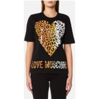 Love Moschino Womens Leopard Heart Logo T-Shirt - Black - IT 42/UK 10 - Black