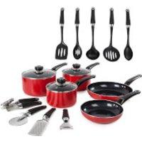 Morphy Richards 970041 Equip 5 Piece Pan Set with 9 Piece Tool Set - Red