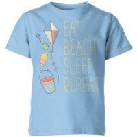 My Little Rascal Eat, Beach, Sleep, Repeat Kids' T-Shirt - Light Blue - 11-12yrs - Blue - Beach Gifts
