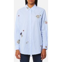 Maison Scotch Womens Long Sleeve Shirt with Placed Star Embroidery - Combo S - S - Blue