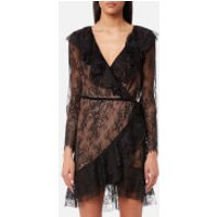 For Love & Lemons Womens Daphne Lace Wrap Dress - Black - XS - Black
