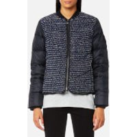 Karl Lagerfeld Womens Boucle Quilted Down Bomber Jacket - Peacoat - IT 42/UK 10 - Blue