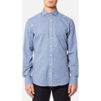 Hackett Mens Plain Flannel Long Sleeve Shirt - Blue - XL - Blue