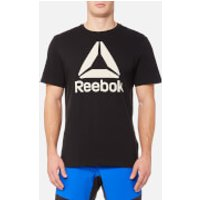 Reebok Mens Stacked Logo Short Sleeve T-Shirt - Black - XXL - Black