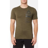 Reebok Mens Activchill Zoned Graphic Short Sleeve T-Shirt - Army Green - M - Green