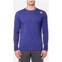 Reebok Mens CrossFit Long Sleeve T-Shirt - Deep Cobalt Blue - XXL - Blue