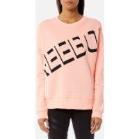 Reebok Womens Logo Crew Neck Sweatshirt - Peach Twist - L - Pink