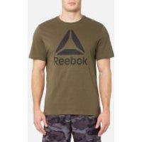 Reebok Mens Stacked Logo Short Sleeve T-Shirt - Army Green - L - Green