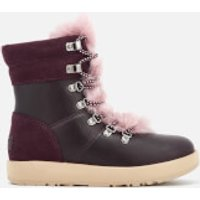 UGG Womens Viki Waterproof Leather Lace Up Boots - Port - UK 4.5 - Burgundy