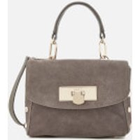 DKNY Womens Suede Mini Flap Shoulder Bag - Stone