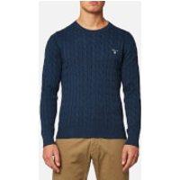 GANT Mens Cotton Cable Knitted Jumper - Dark Jeans Blue Melange - XXL - Blue