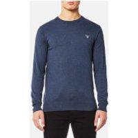 GANT Mens Cotton Wool Mix Crew Knitted Jumper - Dark Jeans Blue Melange - S - Blue