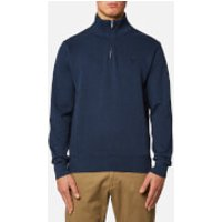 GANT Mens Sacker Rib Half Zip Sweatshirt - Marine Melange - XL - Blue