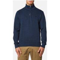 GANT Mens Sacker Rib Half Zip Sweatshirt - Marine Melange - XXL - Blue