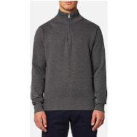GANT Mens Sacker Rib Half Zip Sweatshirt - Antracit Melange - S - Grey