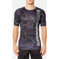 Superdry Sport Men's Sport Athletic AOP T-Shirt - Reflective Lightening - S - Black
