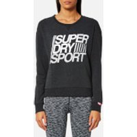 Superdry Sport Womens Lightweight Crew Neck Sweatshirt - Black Marl - XS - Black
