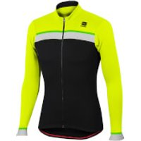 Sportful Pista Thermal Jersey - Black/Yellow Fluo - S - Black/Yellow Fluo