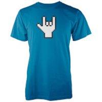 Pixel Rock Mens Blue T-Shirt - M - Blue