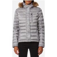Superdry Womens Luxe Fuji Double Zip Hooded Jacket - Comet Silver - L - Silver