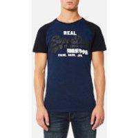 Superdry Mens Vintage Logo Raglan T-Shirt - Eclipse Navy/Blue Grit - S - Eclipse Navy/Blue Grit