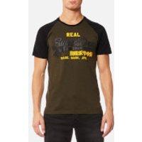 Superdry Mens Vintage Logo Raglan T-Shirt - Black/Olive - XL - Black/Olive