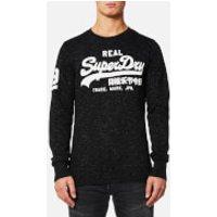 Superdry Mens Vintage Logo Crew Sweatshirt - Smoked Space Dye Grit - L - Smoked Space Dye Grit