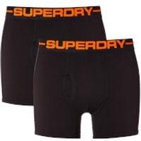 Superdry Mens Sport Boxer Double Pack Boxers - Black/Orange - XXL - Black/Orange