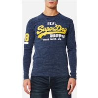 Superdry Mens Vintage Logo Duo Long Sleeve T-Shirt - Urban Navy Grit - L - Urban Navy Grit