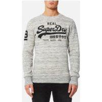 Superdry Mens Vintage Logo Crew Sweatshirt - Side Walk Grey Marl Space Dye - XXL - Side Walk Grey Marl Space Dye