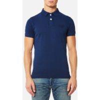 Superdry Men's Vintage Destroyed Short Sleeve Pique Polo Shirt - Boston Blue - L - Boston Blue