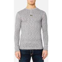 Superdry Mens Heritage Long Sleeve Grandad Top - Grey Grit - M - Grey Grit