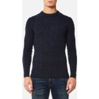 Superdry Mens Harlo Cable Crew Jumper - Imperial Navy - L - Imperial Navy