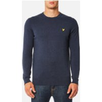 Lyle & Scott Mens Crew Neck Cotton Merino Jumper - Ink Blue Marl - S - Blue