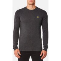 Lyle & Scott Mens Crew Neck Cotton Merino Jumper - Charcoal Marl - S - Grey